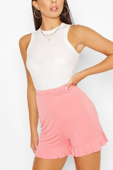 Rose Basic Ruffle Hem Jersey Flippy Shorts