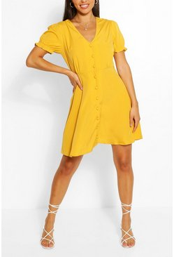 Yellow Puff Sleeve Button Through Skater Dress