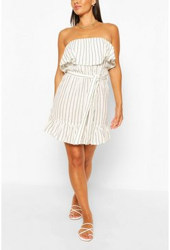 White Striped Bandeau Frill Hem Belted Mini Dress