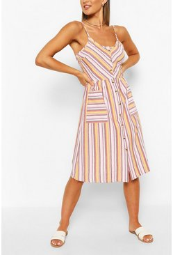 White Striped Button Down Strappy Midi Skater Dress