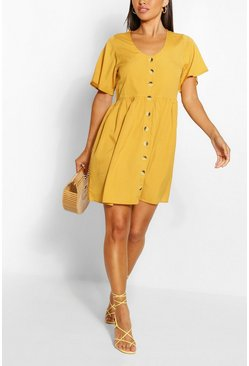 Mustard Button Down Skater Dress