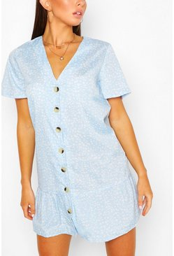 Light blue V-Neck Button Through Drop Hem Shift Dress