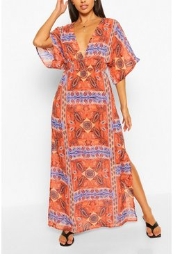 Orange Scarf Print Plunge Side Split Maxi Dress