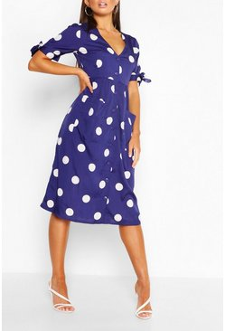 Blue Polka Dot Tie Sleeve Midi Smock Dress