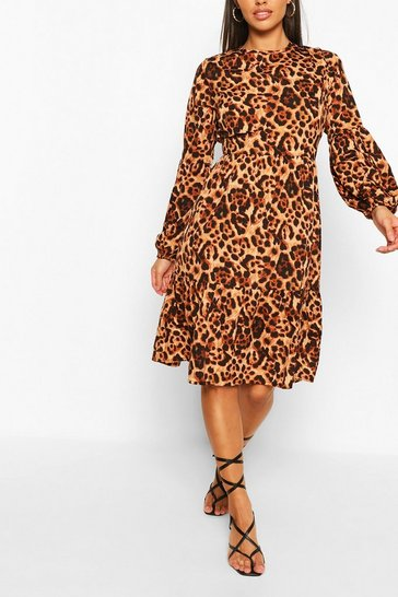 Brown Animal Print Long Sleeve Midi Smock Dress