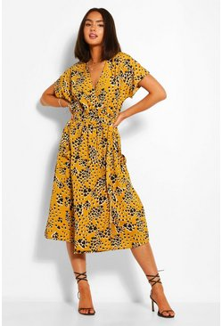 Yellow Floral Drop Waist Shirt Dress