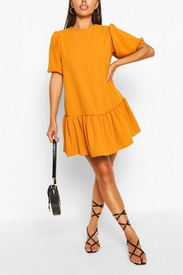 Mustard Puff Sleeve Drop Hem Shift Dress