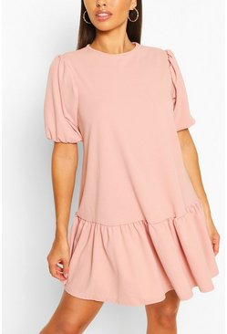 Pink Puff Sleeve Drop Hem Shift Dress