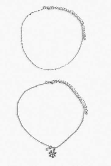 Silver Diamante & Flower Charm Layered Anklet