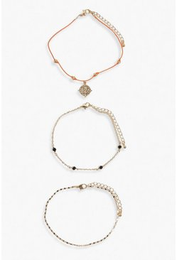 Multi 3 Pack Coin & Chain Detail Rainbow Anklet
