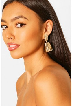 Engraved Statement Door Knocker Earrings, Gold