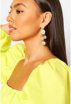 Gold Multi Coin Detailed Statement Earring
