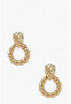 Gold Twisted Door Knocket Statement Earring