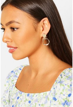 Coin Detail Ring Statement Earring, Gold
