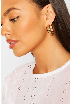 Rose gold Coin Linked Hoop Earrings