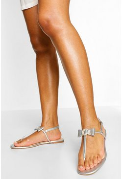 Silver Diamante Bow Thong Sandal