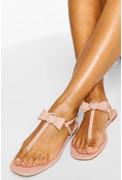 Nude Diamante Bow Thong Sandal