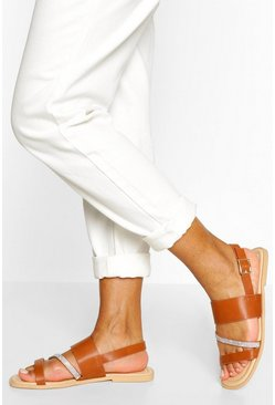 Tan Diamante Asymmetric Flat Sandal