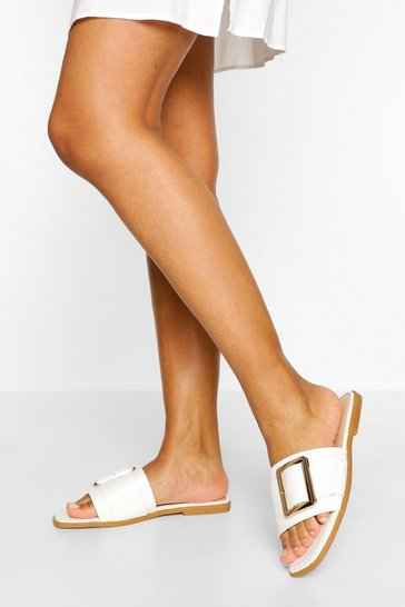 White Buckle Detail Square Toe Slider