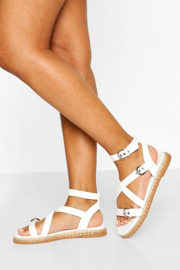 White Buckle Detail Multi Strap Chunky Sandals