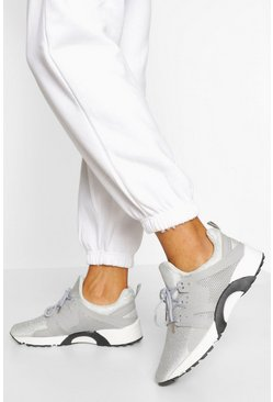 Grey Knitted Sports Trainer