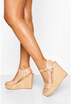 Nude Croc Effect Peeptoe Wedge