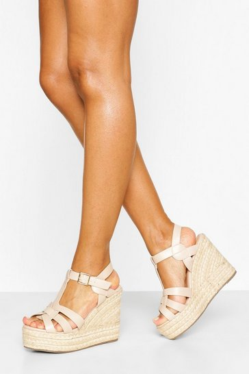 Nude Woven Front Espadrille Wedge