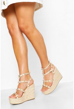 Nude Studded Espadrille Wedge