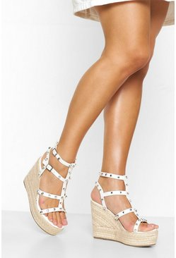 White Studded Espadrille Wedge