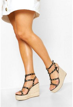 Black Studded Espadrille Wedge