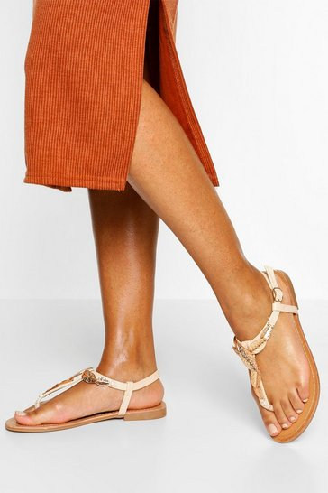 Beige Metal Trim Detail Thong Sandal