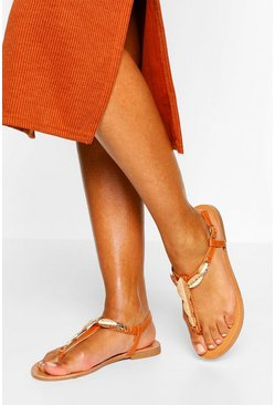 Camel Metal Trim Detail Thong Sandal