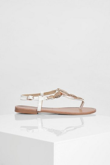 White Metal Trim Detail Thong Sandal