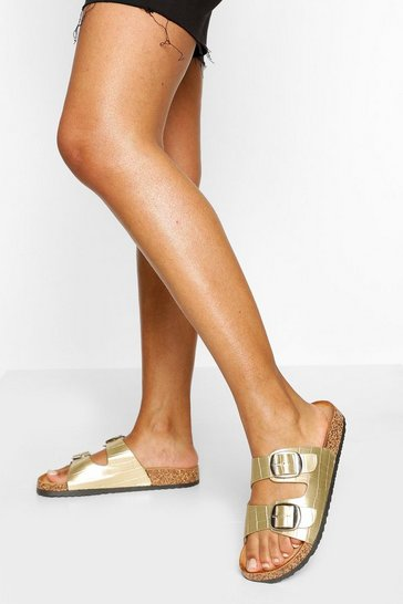 Gold Double Strap Footbed Slider