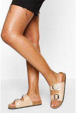 Nude Double Strap Footbed Slider
