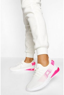 White Knitted Sports Trainers
