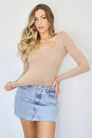 Camel Square Neck Rib Knit Jumper