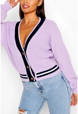 Lilac V Neck Stripe Cardigan