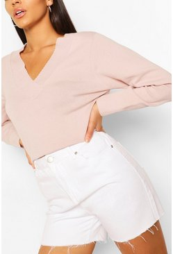 Pink V Neck Jumper