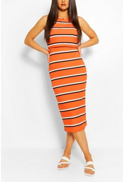 Orange Striped High Neck Double Layered Maxi Dress