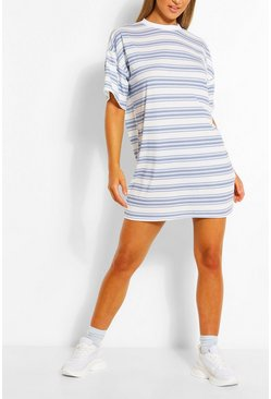 Stripe Oversized T-shirt Dress, Blue