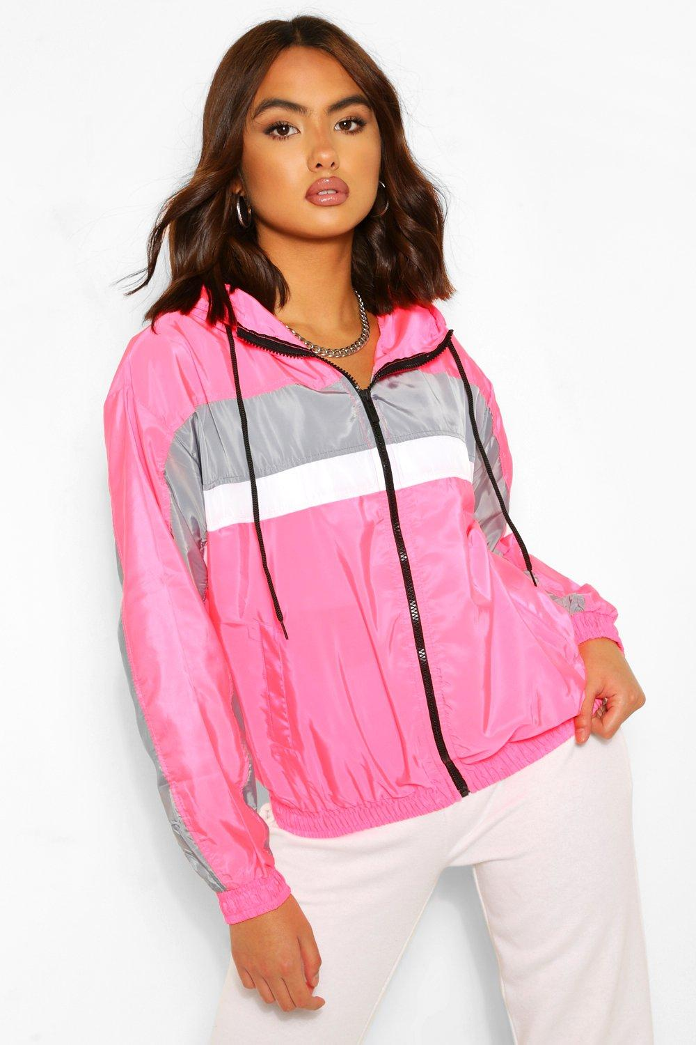 1980s Clothing, Fashion | 80s Style Clothes Womens Stripe Panel Hooded Windbreaker - Pink - 12 $18.00 AT vintagedancer.com