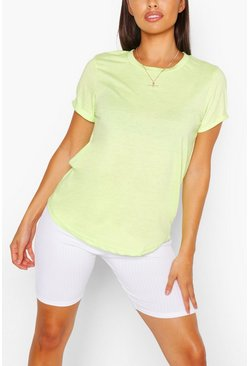 Lime Roll Up Sleeve Basic T-Shirt
