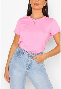 Roll Up Sleeve Basic T-Shirt, Pink