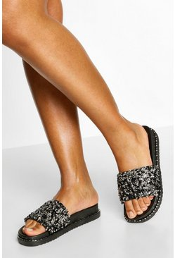 Black Embellished Footbed Sliders