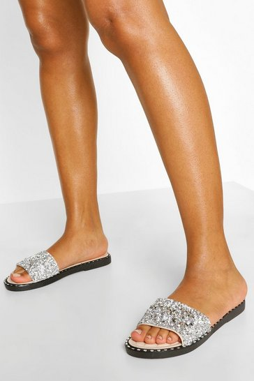 Silver Embellished & Stud Detail Sliders