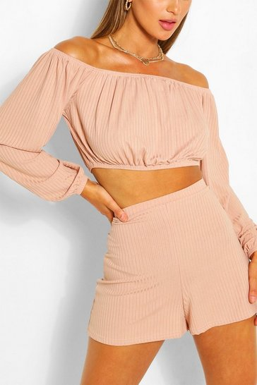Stone Ribbed Bardot Top & Short Co-ord Set