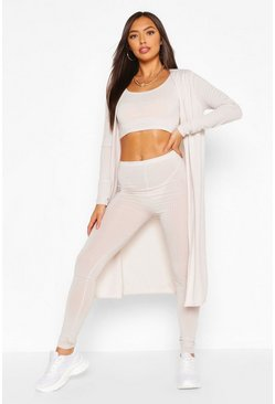 Ecru Ribbed Crop Top Legging & Duster Co-ord Set