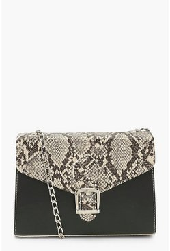Natural Snake And Pu Buckle Cross Body Bag
