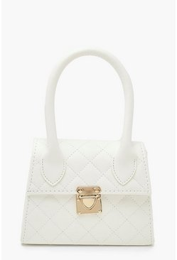 White Quilted Structured Handle Grab Bag